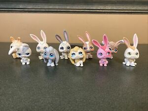 Littlest Pet Shop Lot 10 Bunny Rabbit Pink White Tan Grey