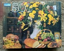 "Guild Puzzle, 500 piece still life, bouquet, bread, 15 1/2"" x 18"" finished"