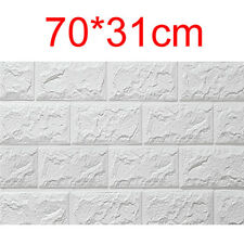 PE Foam 3d DIY Wall Stickers Wall Home Decor Embossed Brick Stone Retro Fashi RT White