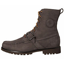 Polo Ranger Mens 812570443-003 Dark Grey Smooth Leather Strap Boots Size 8.5