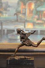 Bronze Sculpture Tennis female Players Figurine Bronze Statue, Signed: Milo