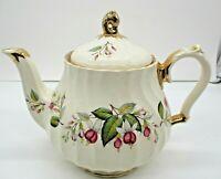 Sadler England Teapot Gold Trim Flowers Vintage