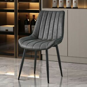 Pair of Grey Dining Chairs PU Leather Seat Slope Back Metal Legs Home Restaurant