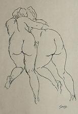 George Grosz signed original INK drawing on parchment paper 'zwei Akten' - 1937