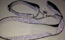"Mirage Ribbon Martingale CHAIN DOG Collar & lead Lge 18-26"" NECK lilac butterfly"
