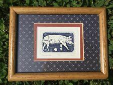 Deviled Ham Original Art Pig Hog Etching signed by Darlene Hardie framed