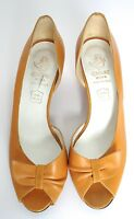UK 3/3.5 (Narrow) Vintage Yellow Shoes - Leather peep-toe shoes - 80s  UNWORN