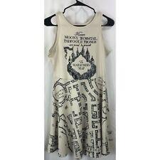 Hot Topic Harry Potter Marauders Map ivory sleeveless dress S