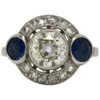 Art Deco 2.10 Ct White Diamond 925 Silver Vintage Antique Ring Size 7 GAF 25
