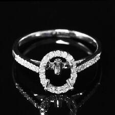 6x8mm Oval Cut 14K White Gold Natural Diamond Fashio Semi Mount Engagement Ring