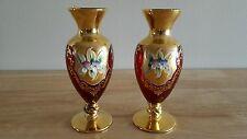 Vintage Bohemian Style Rose Red Gold Gilt Set of 2 VASES Raised Enamel