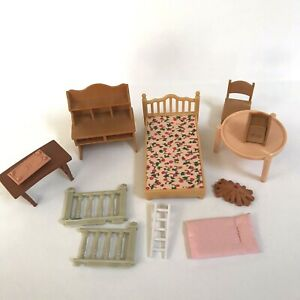 Dollhouse Furniture Sylvanian Families Epoch Mixed Lot Bed Replacement Desk