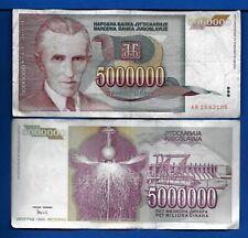 Yugoslavia P-121 5,000,000 Dinara Year 1993 Nicola Tesla CIRCULATED BANKNOTE