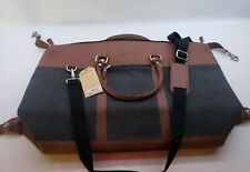 Canyon Outback Wool and Leather Duffel Bag - Grey And Brown
