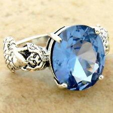 Mermaid Ring 925 Sterling Silver Sim Aquamarine Antique Style Size 5, #931