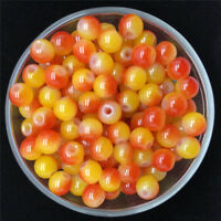 30PCS 8mm Double Color Glass Round Pearl Spacer Loose Beads Jewelry Making 06