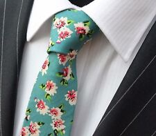 Tie Neck tie Slim Teal with Pink & Off White Floral Quality Cotton T6043