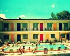 Mid Century Art Print, 1960's Mod Pool Party, MCM Decor, Motel Colored Doors