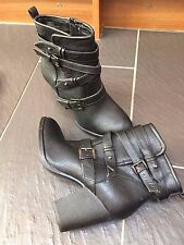 FIORE BLACK ANKLE BOOTS BUCKLE DETAIL SIZE UK 7 EUR 41
