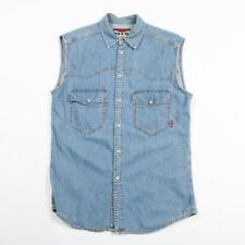 VGC Vintage Sleeveless Denim Popper Shirt | Men's S | Western Cowboy Jeans Vest