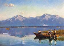 Am Chiemsee Ruderboot Alpenlandschaft Schilf Ufer Bütten Joseph Wopfner A3 13