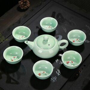 Tea Set Longquan Celadon Ceramic Tea Set Fish Cup Kung Fu Teaset Teapot Teacup