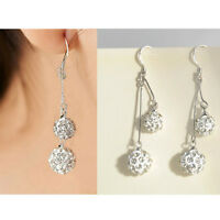 Women's Silver Plated Crystal Ear Stud Earrings Hook Dangle Gift Party Jewelry T