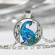 1 pcs Blue Peacock Bird Glass Cabochon Tibet silver pendant chain necklace