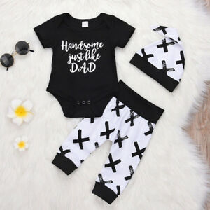 6-12 Months Baby Outfits Boys Cotton Tops Romper Jumpsuit Long Pant Clothes Set