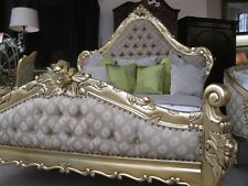 Large Statement Italian Gold Leaf Ornate French Louis Gilt King Size Bed