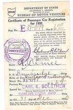 1931 Ohio Registration Card for a Hudson Brougham