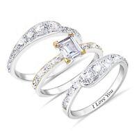3pcs/set Gorgeous Women Wedding Rings 925 Silver White Sapphire Size 6-10