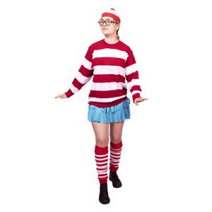 Women's Book Character Find Me Costume: Wally Hat Jumper Skirt Fancy Dress