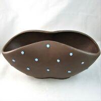 California Pottery Pinched Planter Vase Flower Bowl Matte Brown Blue Polka Dot