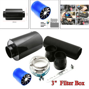 """Carbon Fiber Cold Air Intake System 3"""" Inlet Filter Box Induction Kit Universal"""