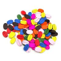 100Pcs 2 Holes Colorful Wooden Oval Buttons Clothes Sewing Handmade DIY Craft