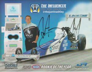 2021 Justin Ashley signed Smart Sanitizer The Influencer Top Fuel NHRA Hero Card