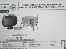 PHILCO PREDICTA G4710L,M, G4720L, UG4710L, UG4720L, 9L38 TELEVISION TV PHOTOFACT