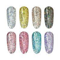 Holographic Glitter Mixes Metallic Gel Polish UV LED Nail Art Mirror Diamond