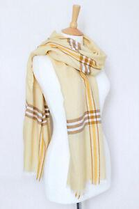 NEW! LORO PIANA yellow Kent silk cashmere knit striped checked scarf shawl stole