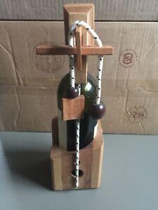 Wooden Wine Bottle Holder Puzzle Don't Break The Bottle Brain Teaser Gifting