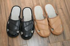 Leather House sheepskin Scuff or Slide Slippers Light Weight Men's