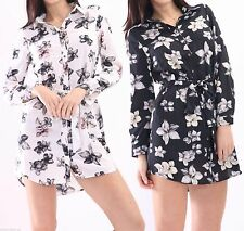 Polyester Party Long Sleeve Shirt Dresses