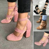 Women Lace Up Suede High Heels Thick Platform Bandage Pull On Shoes Plus Size