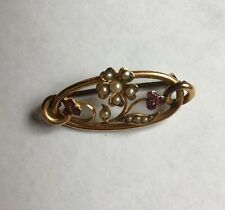 Hallmarked 9ct 9k Gold Pearl Leaves & Berries Pin Brooch