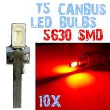 10 T5 5630 SMD LED Dashboard Interieur Gloeilampen Quadro Auto 12V ROOD 2E7 2E7.