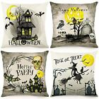 Vintage Moon Witch Boo Halloween Pillow Covers 18x18 Set of 4 Throw Pillowcase