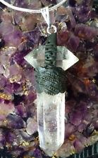 HERKIMER DIAMOND AND CRYSTAL QUARTZ PENDANT WITH HAWAIIAN LAVA ROCK AND  CHAIN