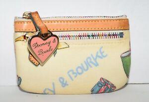 Dooney  & Bourke Multi Color Coated Canvas & Tan Leather Rainbow Zip Coin Purse