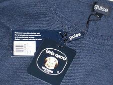 "Navy Crew Neck Golf Sweater 42"" Jumper EXTRAFINE MERINO WOOL by Guise Italian"